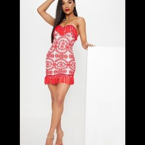 Pretty Little Thing Red Broderie Dress